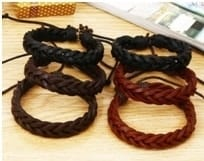 Mr Pefe Handmade Woven Leather Bracelet Brown