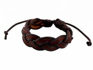Mr. Pefe Double Woven Leather Bracelet Brown