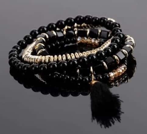 Mrs. Pefe Bohemian Style Triple Bracelet Gold/Black