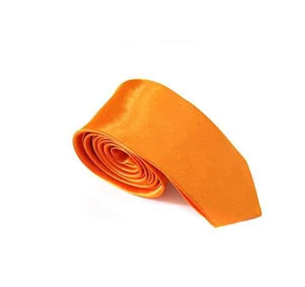 Stropdas Skinny Satijn Oranje