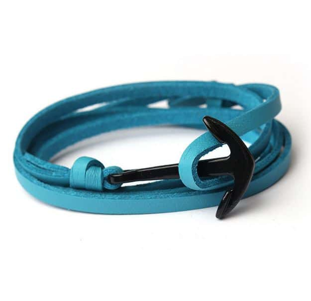 Mr. Pefe Leather Anchor Bue on Black - Leren armband Blauw met zwart Anker