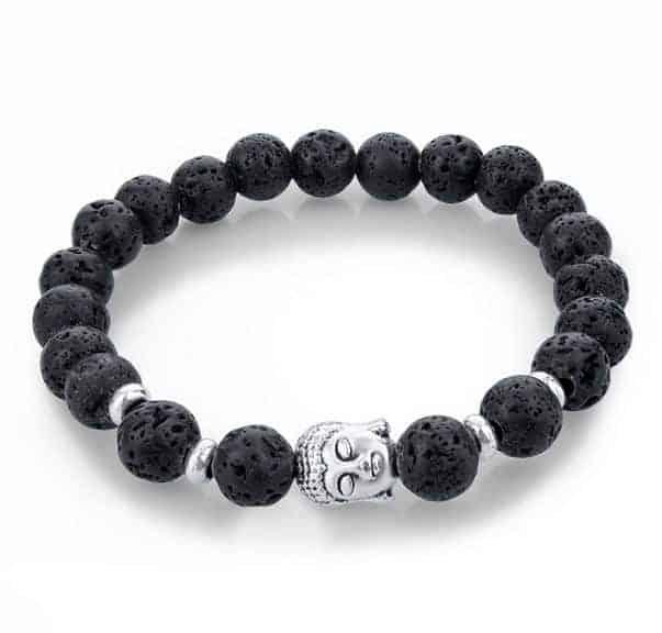 Armband Buddha Zwart Lava Zilver