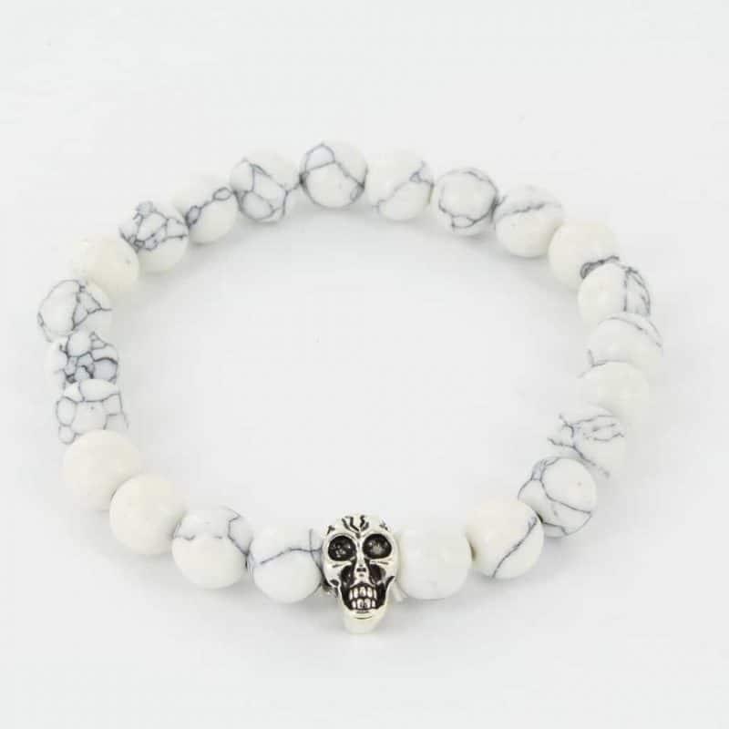 Mr. Pefe Armband Skull Wit Marmer/Zilver