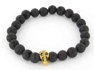 Mr. Pefe Armband Skull Zwart Lava/Goud