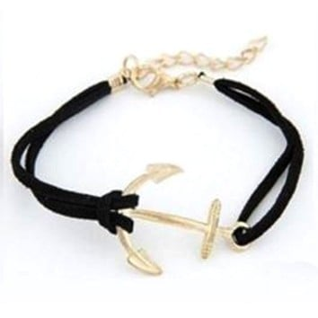 Mr. Pefe Golden Anchor Bracelet – Anker armband Goud/Zwart