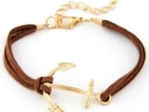 Mr. Pefe Golden Anchor Bracelet – Anker armband Goud/Bruin