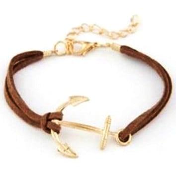 Mr. Pefe Golden Anchor Bracelet – Anker armband Goud/Bruin