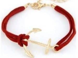 Mr. Pefe Golden Anchor Bracelet - Anker armband Goud/Rood