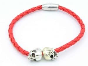 Mr. Pefe Armband Rood Leer/ Zilver Skull