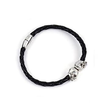 Mr. Pefe Armband Zwart Leer/ Zilver Skull