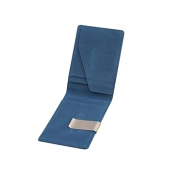 Mr. Pefe Suede Wallet Blue with moneyclip - Portemonnee