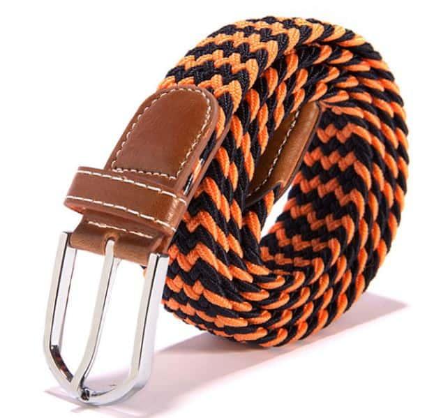 Herenriem Elastisch gevlochten Multicolor Oranje/Zwart