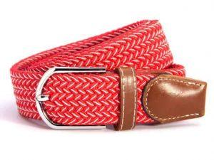 Herenriem Elastisch gevlochten Multicolor Rood/Wit