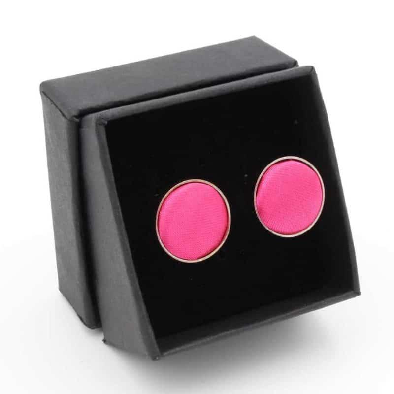 Manchetknopen Satijn Roze en Zilverkleurig