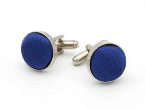 Manchetknopen Blauw Satijn Zilverkleurig