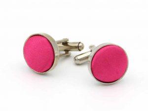 Manchetknopen Roze Satijn Zilverkleurig