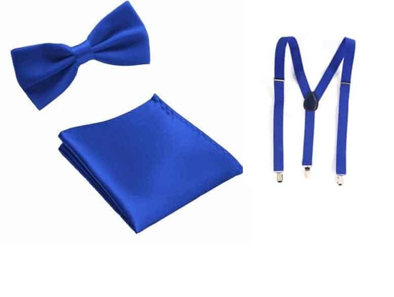 Cadeaupakket Gala Blauwe Strik en Pochet en Bretels