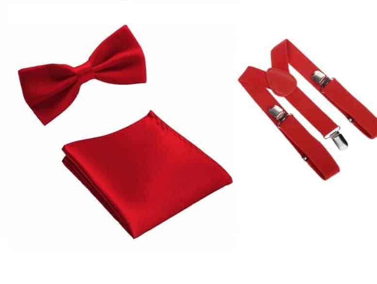 Cadeaupakket Gala Rode Strik en Pochet en Bretels