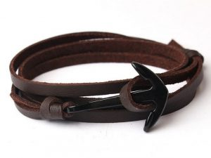 Mr. Pefe Leather Anchor Brown on Black - Leren armband Bruin met zwart Anker