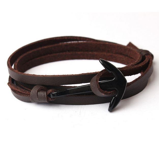 Mr. Pefe Leather Anchor Brown on Black - Leren armband Bruin met zwart Anker
