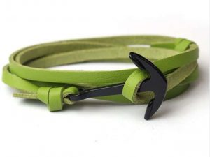 Mr. Pefe Leather Anchor Green on Black - Leren armband Groen met zwart Anker