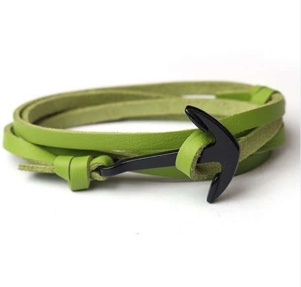 Mr. Pefe Leather Anchor Green on Black - Leren armband Groen met zwart Anker
