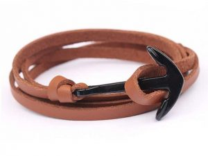Mr. Pefe Leather Anchor Beige on Black - Leren armband Beige met zwart Anker