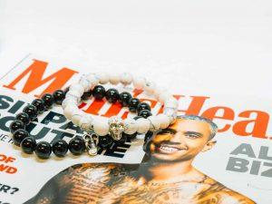Mr. Pefe Cadeaupakket Tijdschrift Men's Health - Skull Armbanden duo