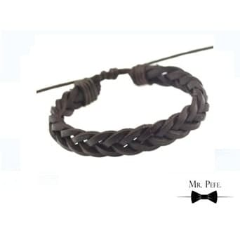 Mr Pefe Handmade Woven Leather Bracelet Dark Brown