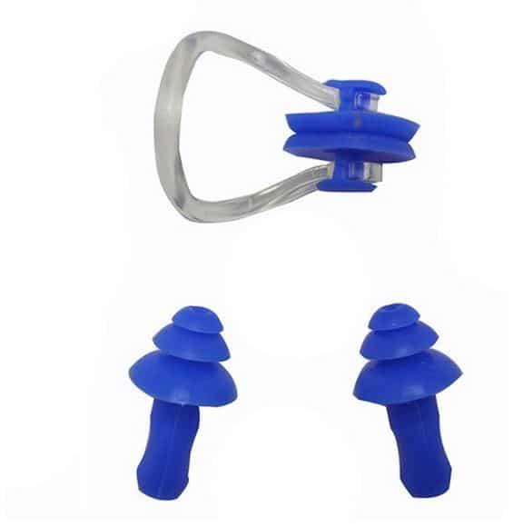 Sports Pefe Swimsafe zwemoordoppen – onderwater oordoppen – Zwem pluggies blauw met neusklem