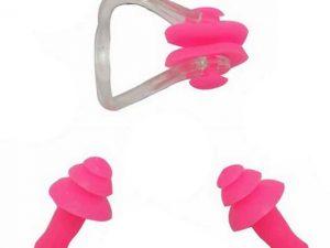 Sports Pefe Swimsafe zwemoordoppen – onderwater oordoppen – Zwem pluggies roze met neusklem