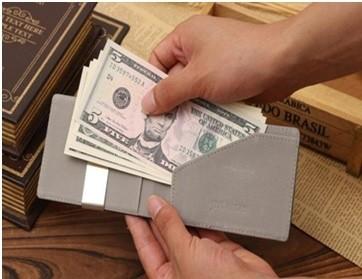Mr. Pefe Suede Wallet Beige with moneyclip - Portemonnee