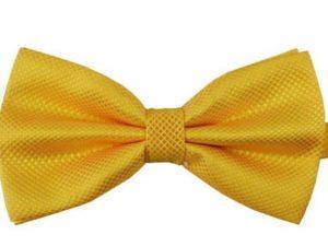 Mr. Pefe Luxe vlinderstrik goud geel – Satijn Geblokte Strik