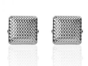 Manchetknopen Vierkante Tralies Zilverkleurig