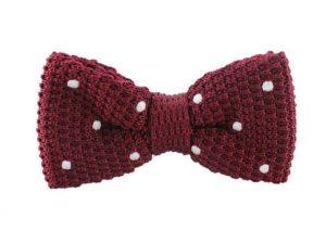 Strikje - Coton Bow Tie Red White Dots – Katoenen gevlochten vlinderstrik Rood met witte stippen