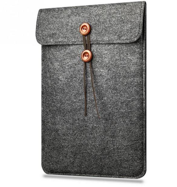Mr. Pefe Laptop Sleeve Indiana Grey 11 inch - Grijs Wol met lederensluiting