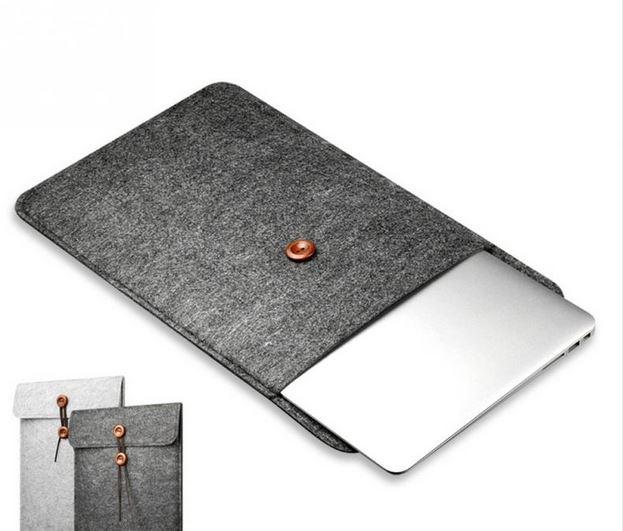 Mr. Pefe Laptop Sleeve indiana Grey - Laptop sleeve grijs met lederensluiting