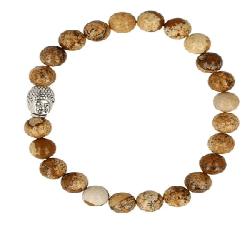 Jaspis landschap armband boeddha mannen